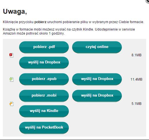 Wysyłka ebooka na Dropbxo z poziomu konta eBookpoint.pl