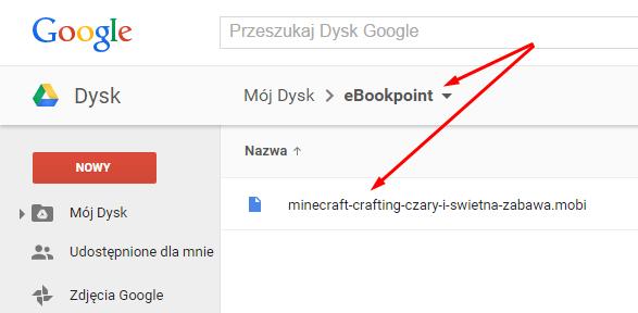 Widok konta Google Drive z przesłanym ebookiem